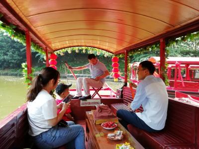 鎮江焦山揺櫂船は、陽気な船頭さんが歌を歌い手こぎのボート。まるでヴェネチアのゴンドラ♪2019年6月中国 揚州・鎮江7泊8日(個人旅行)40
