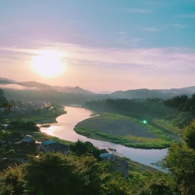 山梨県の桂川の夜明けが綺麗だったので空から眺めてみた
