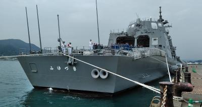 朝の関門海峡散歩で護衛艦「ふゆづき」に出会う。