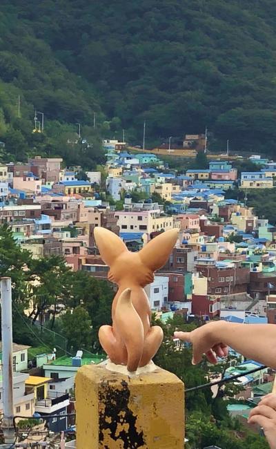 バンコク赴任中の弟家族に会いに釜山経由バンコク弾丸旅行、その1.カムチョン観光とチャガルチグルメ