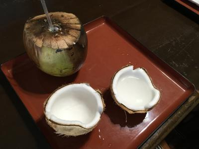 民宿みやよし荘で、獲って来た椰子の実を割ってもらい、ジュースを飲みココナツを食べた♪黒島のネコ牧場♪2019年7月八重山・黒島8泊9日114