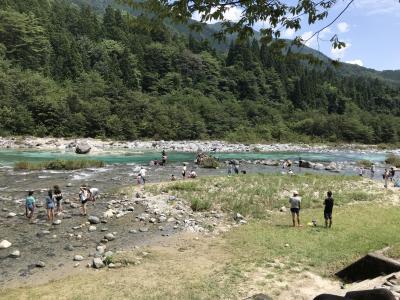 付知峡でキャンプ(付知川遊び、妻籠宿・下呂温泉の散策)