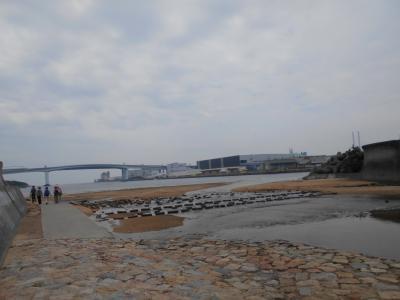 夏の終わりの芦屋川河口付近・・・7月30日と比べてみたよ。