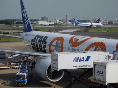成田で乗り換え。飛行機をゆっくり観察できました。