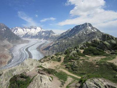 2019、シャモニー、サースフェーで山歩き、ちょっとイタリアで街歩き(その9、モースフルーでアレッチ氷河を見る)