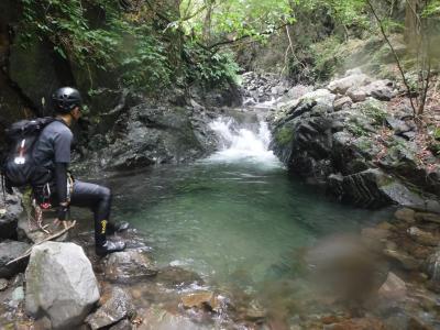 尾名手川 水量豊富も中盤の沢歩きが長い