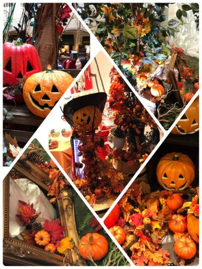 秋ですね。ハロウィン飾りとランチ。
