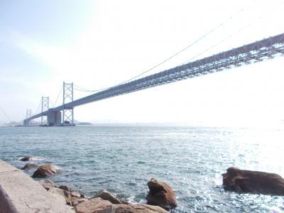 バスで島めぐりしながら瀬戸大橋をゆっくり渡りました