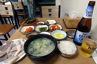お盆休みの釜山3泊 西面(ソミョン)の屋台(ポチャンマチャ)通り テジクッパ通り 浦項(ポハン)テジクッパの夕食