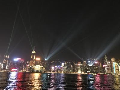キャセイパシフィック航空ビジネスクラスで行く香港2泊4日、宿泊はインターコンチネンタル香港①出発&到着、シンフォニーオブライツ