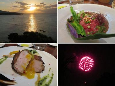 ホテルライフを楽しむ沖縄(12)ハレクラニ沖縄。美しいサンセット、ディナーそして花火