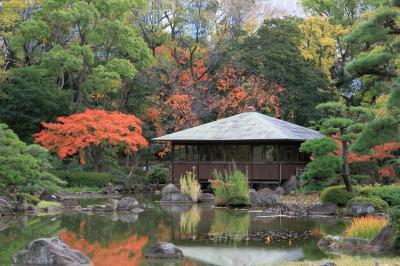 天王寺公園内の慶沢園の庭園が綺麗です。茶臼山古墳をみて堀越神社へお参りしました。