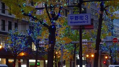 大阪市で写楽展を見た後、御堂筋のイルミを鑑賞 その2。