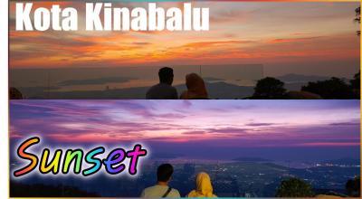 コタキナバル旅行、山から眺めたコタキナバルサンセット