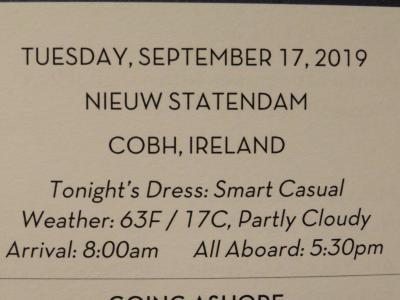 22泊  Nieuw Statendam★1★Tues. Sep 17 Cork , Ireland