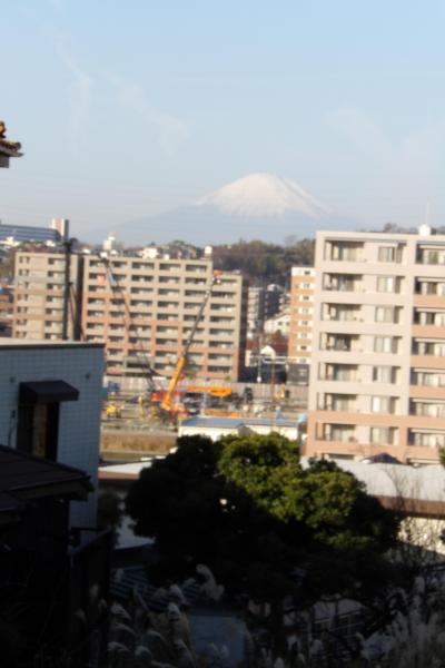 中外製薬研究所建設現場と富士山