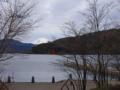 師走の箱根芦ノ湖畔、朝の寸景
