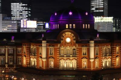 東京国立博物館を見学し東京ミチテラスへ、夜の東京駅を眺める。