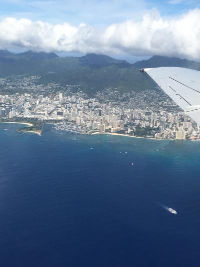 Day1-2 ハワイアン航空でマウイ島へ♪ワイキキ&ダイアモンドヘッド上空の絶景!【2019年12月マウイ島&ホノルルマラソン】