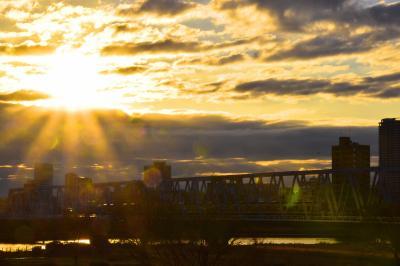 江戸川橋梁@京成本線からの2020年の初日の出を見に訪れてみた