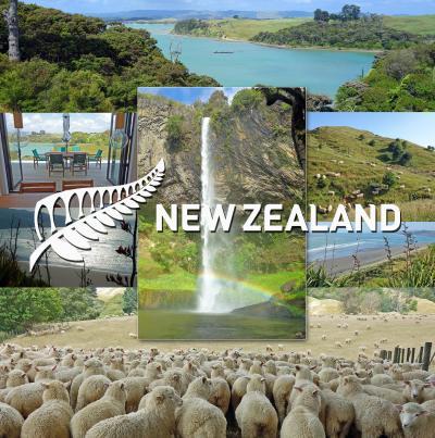 ニュージーランド北島レンタカー旅1-Raglan、Moonlight Bay Tranquility泊、Bridal Veil Falls-