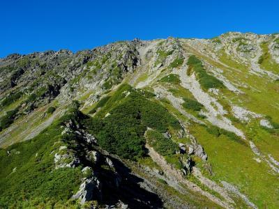 間ノ岳:弘法小屋尾根下降 / 好展望の岩稜&ハイマツの海原