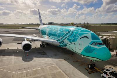 【2019海外】土日でハワイに行ってみた。#04 ~復路編 A380フライングホヌ 2号機「カイ -Kai-」~
