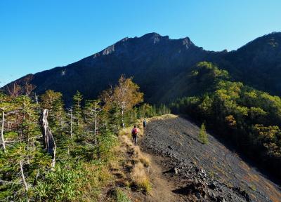 秋の阿弥陀岳 / 南稜↑中央稜↓