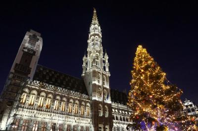 夜のブリュッセルをぶらり☆グランプラス光のショー♪念願のムール貝は…? クリスマス市巡りの旅2-3