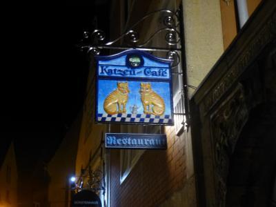 """2019年ドイツのメルヘン街道と木組み建築街道の旅:③ブレーメンの名物店""""猫のカフェ""""で夕食"""