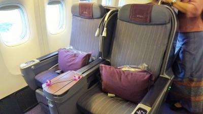 タイ航空B777-300(77R)ビジネスクラスで行く韓国から台湾へ!!!