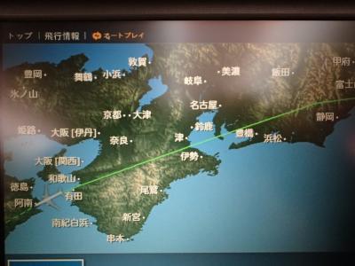 台湾南部での春節期間(1/23~1/29)、台中での喜宴(2/22)のための台湾行き。JL809にて。140回目。