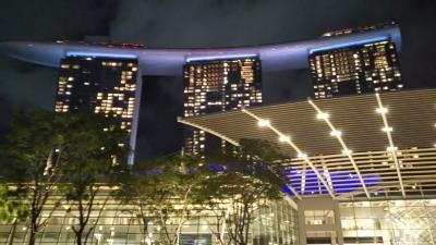 息子と寒さから逃れシンガポールへ 夜のマリーナベイサンズ