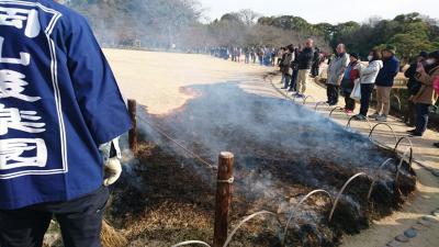 【岡山】 岡山城~岡山後楽園 その2は、岡山後楽園で年に一度の芝焼きに遭遇する