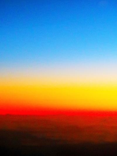 ANA-2 NH184便 ホノルル-前に 朝焼け-雲海-海上 ☆世界最大の機体!窓~景色