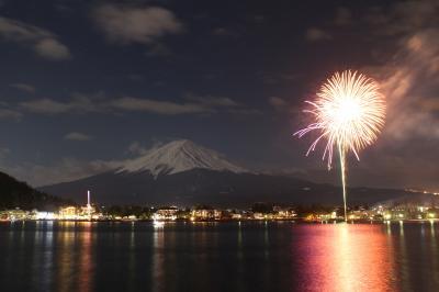 河口湖の冬花火へ。富士山と花火のコラボを狙ってみました。