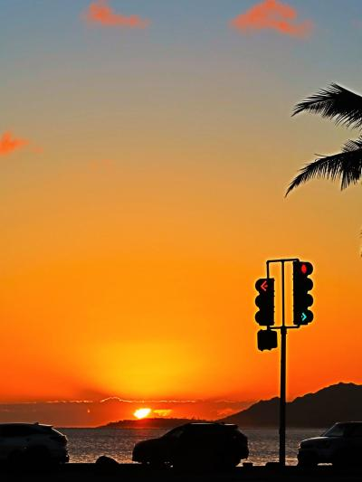 Oahu-52 夕日-夕焼け空 ハワイカイの海辺で ☆カイマナヒラ-歌の情景-寝姿ここに