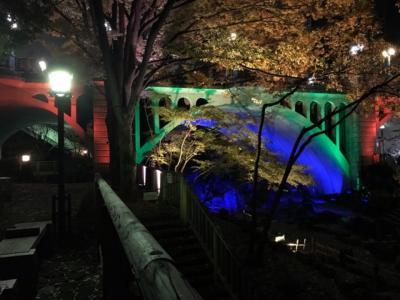 東京・音無親水公園のライトアップ2019~七色に光るコンクリート橋~