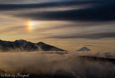 信州の冬景色撮影旅(2) 霧ヶ峰で雲海上に輝く幻日に遭遇