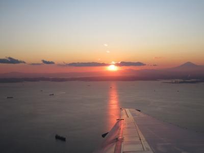 2020・2 チェンマイ花祭り・・フルコース・・(Ⅶ)帰国、夕日と富士山
