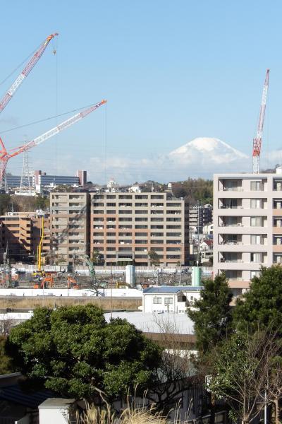 クレーンの間に雲を従えた富士山