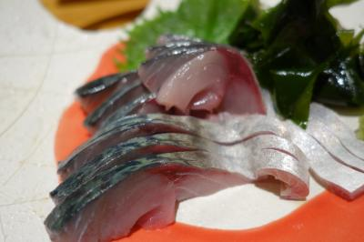 20200417-3 鹿児島 西銀座通りの桔梗で、サバの刺身とか、メヒカリ塩焼きとか