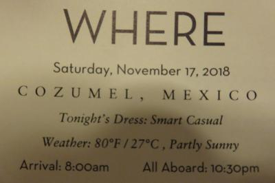 10泊Veendam★5★Sat, Nov17 Cozumel, Mexico