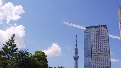 東京上空をブルーインパルスがエール