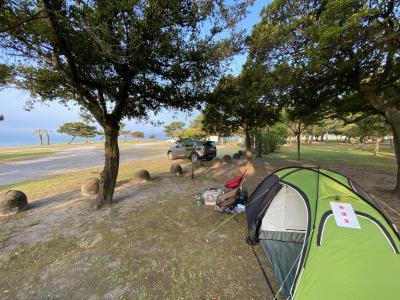 国分キャンプ海水浴場でテント泊から新しくできた美味しいカレー屋さんへ