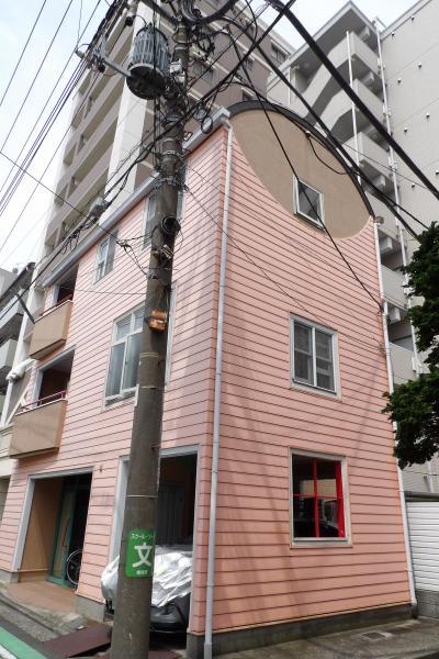 ピンクの外壁で丸屋根の3階建て建物と玄関が丸屋根の家(横浜市南区若宮町2)