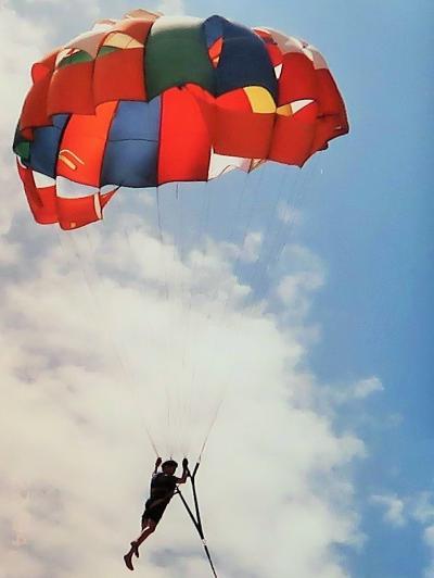 バリ島/1994-3 クタ海岸=パラセーリング空中浮揚 ☆モンキーフォレストでハプニング!