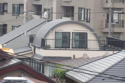富士見道路の上の団地に丸屋根の家(横浜市南区上大岡東1)