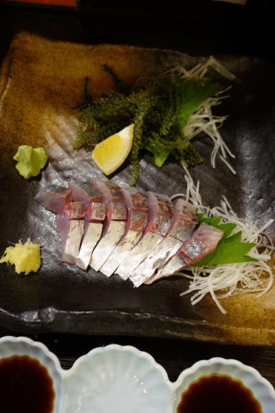 20200704-2 大阪 かどやさんで、アジと海ブドウ、ヒイカ天ぷら、セセリ岩塩焼き