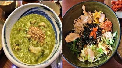 釜山旅行、海雲台グルメ食品。アワビ粥、海藻ビビンバ